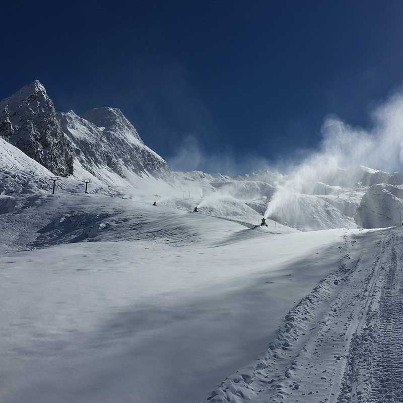 Snow cannons in working mode - Obergurgl-Hochgurgl, Ötztal, Tyrol