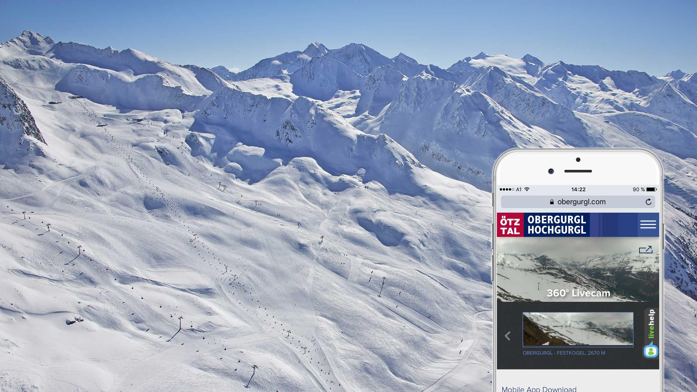 Smartphone und Skigebiet im Hintergrund - Obergurgl-Hochgurgl Rückblick Wintersaison