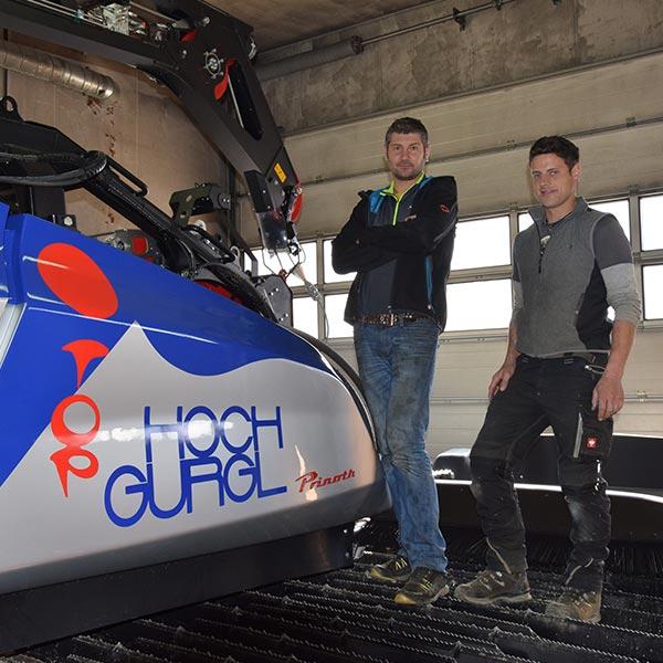 Peter und Florian auf Pistenfahrzeug - Skigebiet Obergurgl-Hochgurgl