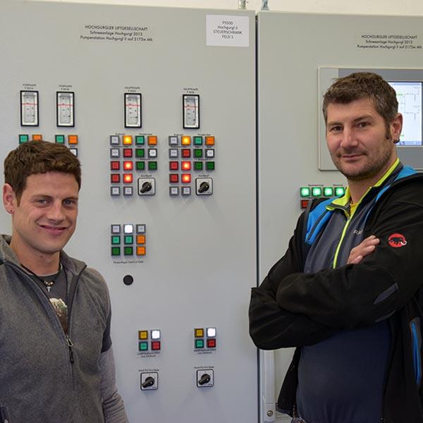 Peter und Florian in der Pumpstation - Skigebiet Obergurgl-Hochgurgl