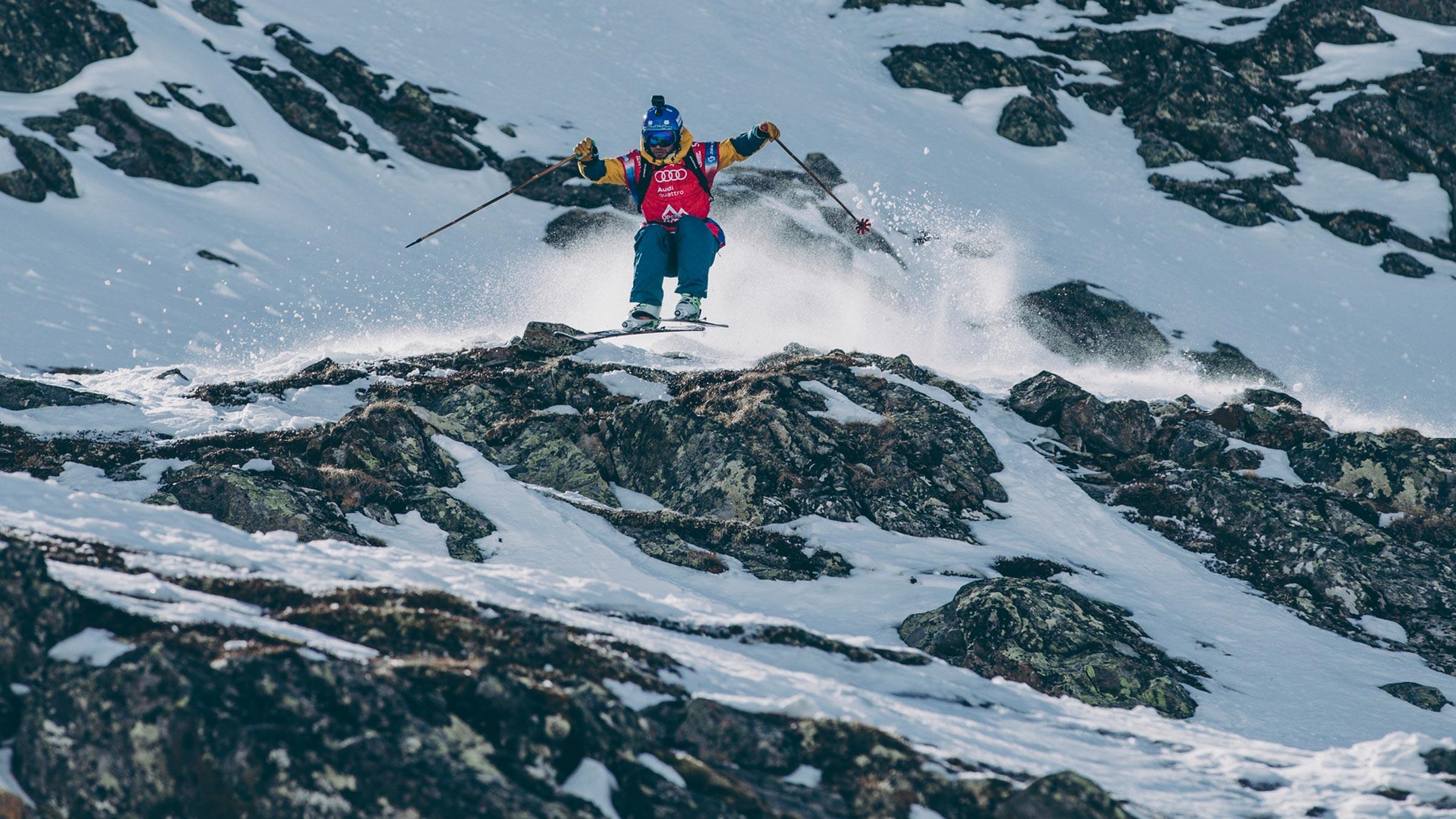 Skifahrer im felsigen Gelände - Open Faces Freeride Contest Obergurgl-Hochgurgl