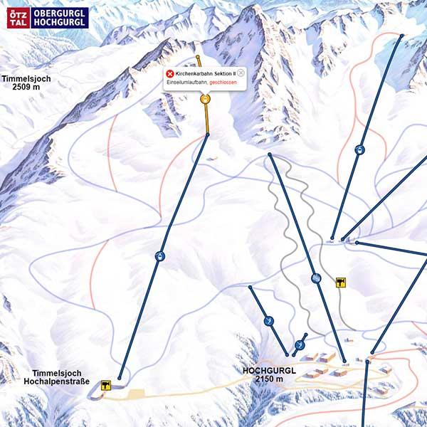 Ausschnitt Pistenplan Obergurgl-Hochgurgl - Kirchenkarbahn II Obergurgl-Hochgurgl