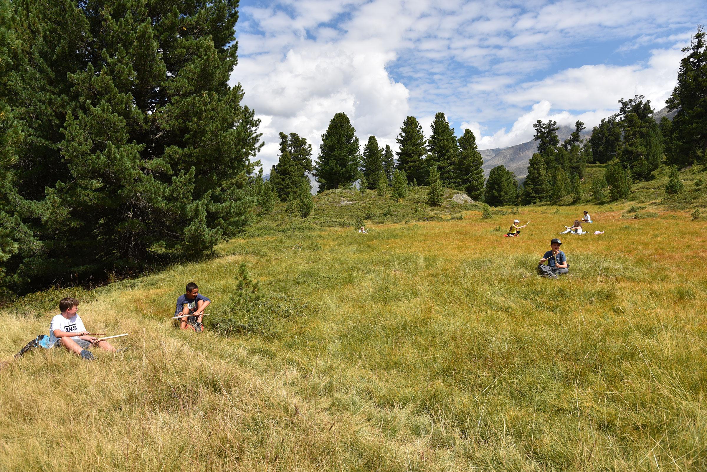 Gruppe Kinder beim Grillenspiel im Zirbenwald - Hochgebirge in Gurgl erforschen